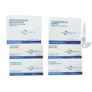 POZIOM I zestaw na suchą masę (WTRYSK) - ENANTHAT + WINSTROL + OCHRONA + PCT (8 tyg.) Euro Pharmacies