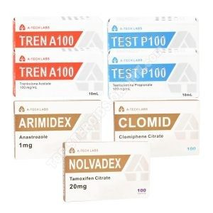 Dry mass taking pack (INJECT) - TESTOSTERONE PROPIONATE + TRENBOLONE ACETATE + PCT (6 weeks) A-tech Labs