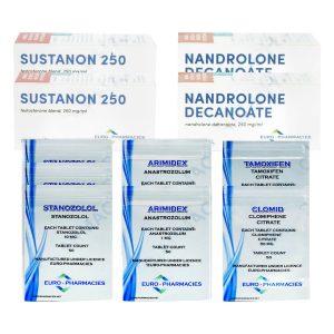 NIVEL III paquete de ganancia de masa seca (INYECCIÓN) - SUSTANON + DECA + STANOZOLOL (8 semanas) Euro Farmacias