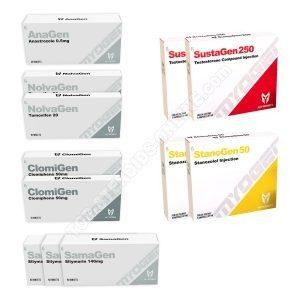 Packung mit Trockengewichtszunahme STUFE I (INJEKT) - TESTOGEN + STANOGEN + SCHUTZ + PCT (8 Wochen) - MYOGEN
