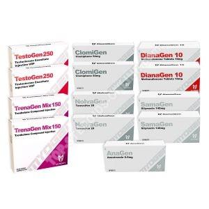 حزمة زيادة الكتلة الجافة (حقن عن طريق الفم) - DIANAGEN + TESTOGEN 250 + TRENAGEN MIX 150 + PROTECTION + PCT - MYOGEN (10 أسابيع)