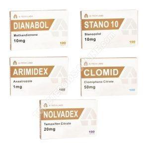 Pakiet suchej masy - doustne sterydy Dianabol + Winstrol (tygodnie 4) A-Tech Labs