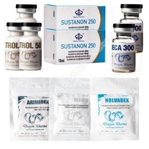 Trockenmasse-Gain-Pack (INJECT-ORAL) SUSTANON + DECA + WINSTROL (8 Wochen) Dragon Pharma