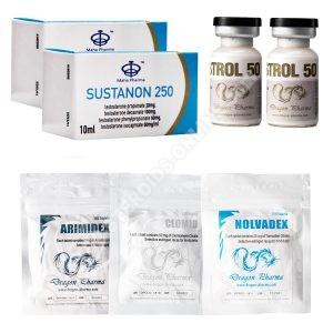 Pack prise de masse sèche LEVEL II (INJECT) – SUSTANON+ WINSTROL + PROTECTION + PCT (8 semaines) Dragon Pharma